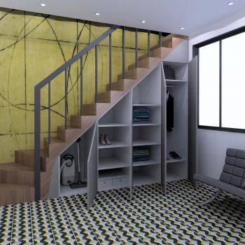 Rangement sous escalier réalisée par le magasin L'intérieur Nantes